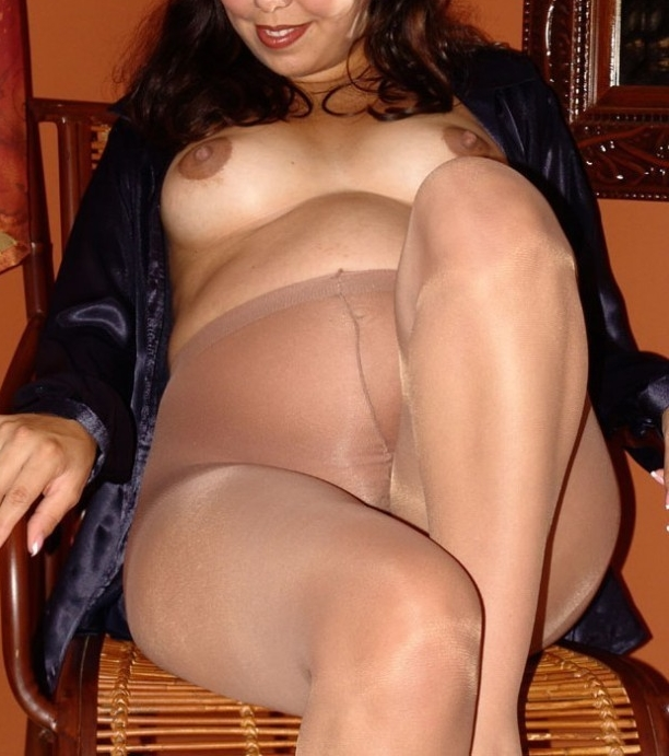 Femme enceinte en collants